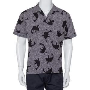 Saint Laurent Paris Black Dolphin Printed Cotton Bowling Shirt L