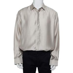 Saint Laurent Paris Beige Modal & Silk Button Front Shirt XXL