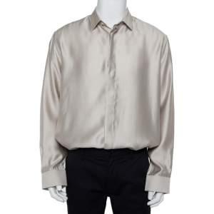 قميص سان لوران باريس حرير ومودال بيج مقاس كبير جدًا جدًا - إكس إكس لارج