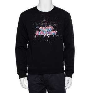Saint Laurent Paris Black Cotton Embellished Logo Detail Crewneck Sweatshirt M