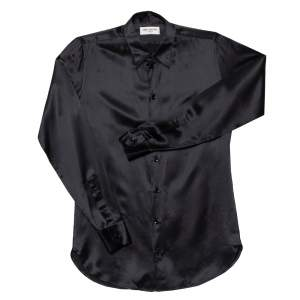 Saint Laurent Paris Black Silk Satin Button Front Shirt S