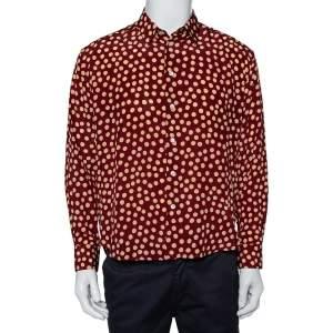 قميص سان لوران باريس أزرار أمامية حرير طباعة تنقيط بولكا عنابي مقاس كبير