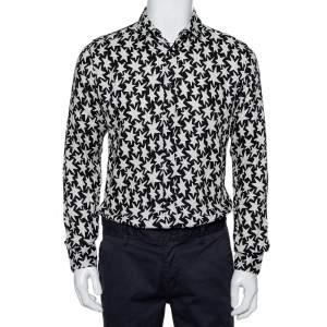 Saint Laurent Paris Monochrome Star Printed Twill Button Front Shirt M