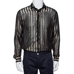 Saint Laurent Paris Black Lurex Striped Silk Button Front Sheer Shirt S