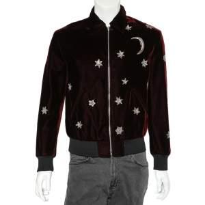 Saint Laurent Paris Burgundy Velvet Moon & Stars Embellished Teddy Jacket M