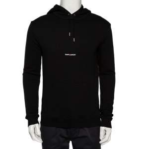 Saint Laurent Paris Black Logo Printed Cotton Knit Hoodie XS