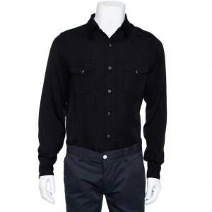 Saint Laurent Paris Black Lyocell Button Front Western Shirt M