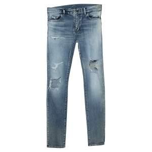 Saint Laurent Paris Blue Washed Out Denim Distressed Jeans S
