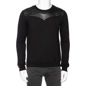 Saint Laurent Black Knit Chest Panel Crewneck Sweatshirt M