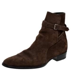 Saint Laurent Paris Brown Suede Blake Jodhpur Ankle Boots Size 43