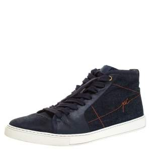 Saint Laurent Paris Blue Denim And Leather Malibu High Top Sneakers Size 42.5