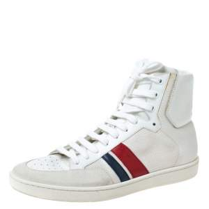 Saint Laurent Paris Off White/White Canvas And Leather SL/04H High Top Sneakers Size 41