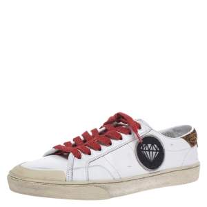 Saint Laurent Paris White Leather And Suede Court Classic SL/37 Diamond Patch Low Top Sneakers Size 41