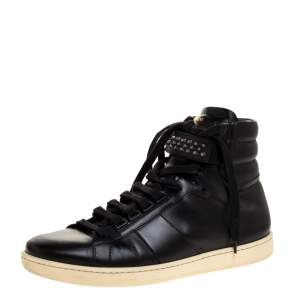 Saint Laurent Black Leather Studded High Top Sneakers Size 42