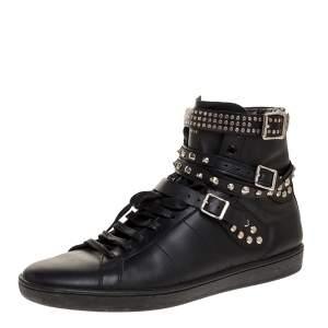 Saint Laurent Paris Black Leather Studded High Top Sneakers Size 44