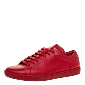 Saint Laurent Red Leather Andy Low Top Sneakers Size 41