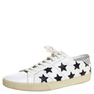 Saint Laurent White Leather Star Court Classic California Sneakers Size 45