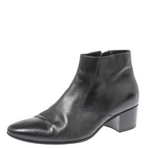 Saint Laurent Black Leather Western Ankle Boots Size 41