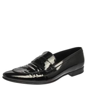 Saint Laurent Paris Black Patent Leather Slip On Loafers Size 44