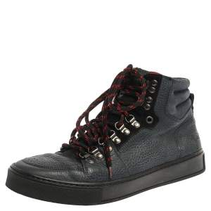 Saint Laurent Navy Blue Leather High Top Sneakers Size 41.5