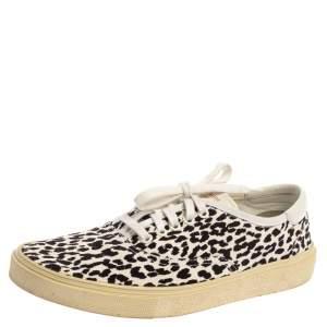 Saint Laurent White/Black Leopard Print Canvas Venice Low Top Sneakers Size 43