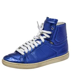 Saint Laurent Metallic Blue Classic Court High Top Sneakers Size 38