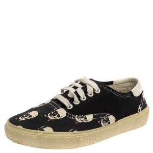 Saint Laurent Black/White Skull Print Canvas Low Top Sneakers Size 40