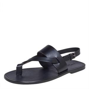 Saint Laurent Black Leather Culver Flat Sandals Size 43