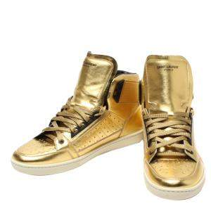 Saint Laurent Paris Gold SL24 High-Top Sneakers Size EU 43