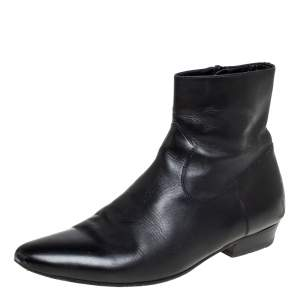 Saint Laurent Black Leather Pointed Toe Ankle Boots Size 42