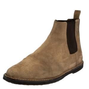 Saint Laurent Beige Suede Chelsea Ankle Boots Size 42