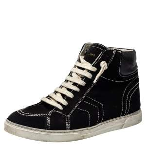 Saint Laurent Black Suede And Leather High Top Sneakers Size 42