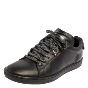 Saint Laurent Black Leather Signature Court SL/01 Lips Sneakers Size 39.5