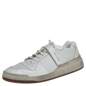 Saint Laurent White Perforated Leather SL24 Low top Sneakers Size 46