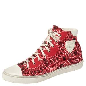 Saint Laurent Red/White Bandana Print Fabric And Leather Bedford High Top Sneakers Size 45