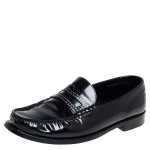 Saint Laurent Black Leather Embellished Penny Slip On Loafers Size 45