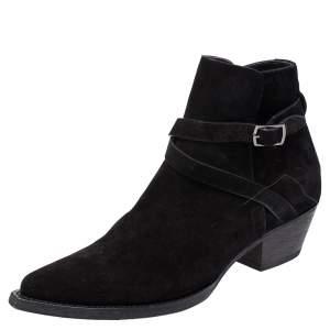 Saint Laurent Paris Black Suede Blake Jodhpur Ankle Boots Size 43.5