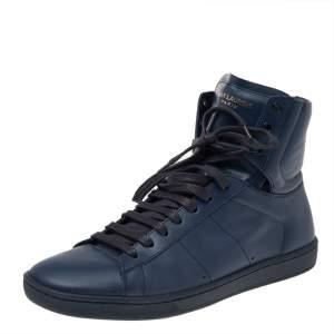 Saint Laurent Blue Leather Signature Court Classic SL/01H High Top Sneakers Size 42