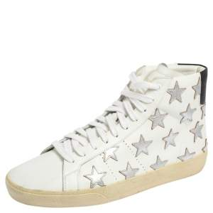 Saint Laurent White Leather California High Top Sneakers Size 42