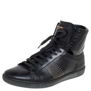 Saint Laurent Black Leather Court Classic Studded High Top Sneakers Size 42