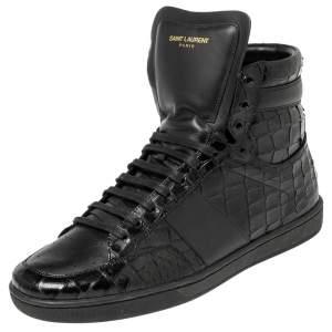 Saint Laurent Black Croc Embossed Leather High-Top Sneakers Size 42.5