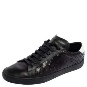 Saint Laurent Black Leather Cut Detail Court Classic Sneakers Size 40
