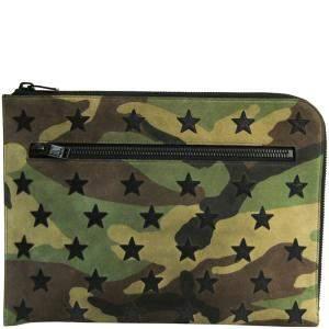 Saint Laurent Paris Khaki/Brown Camouflage Suede Clutch Bag