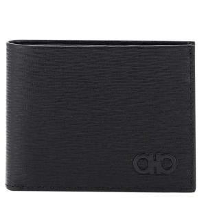 Salvatore Ferragamo Black Gancini Leather Revival Bifold Wallet