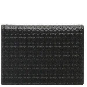 Salvatore Ferragamo Black Leather Gancini Micro Bi-Fold Cardholder