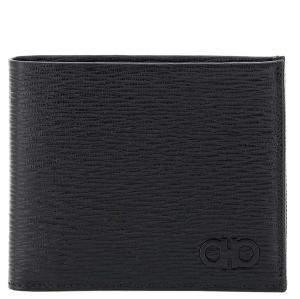 Salvatore Ferragamo Black Leather Gancini Revival Bifold Wallet