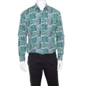 Salvatore Ferragamo Blue and Green Sailboat Printed Cotton Long Sleeve Shirt M