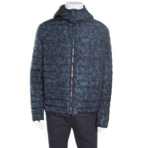 Salvatore Ferragamo Blue Camo Print Hooded Zip Front Quilted Down Jacket XL