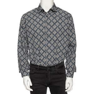 Salvatore Ferragamo Multicolored Geometric Printed Cotton Button Front Shirt L