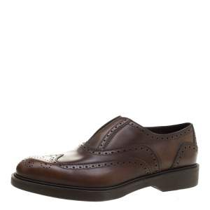 Salvatore Ferragamo Brown Brogue Leather Gambit Loafers Size 42